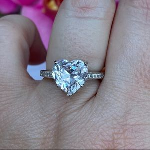 White Gold over 925 lab diamond 2 ct heart ring